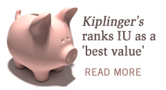 Photo of a piggy bank that says Kiplinger's ranks IU as a best value