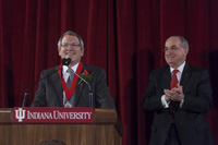 Indiana University President Michael A. McRobbie has presented the President's Medal for Excellence to Neil Theobald, IU's chief financial officer, who will become the next president of Temple University in Philadelphia on Jan. 1. The President's Medal is the highest honor an IU president can bestow.